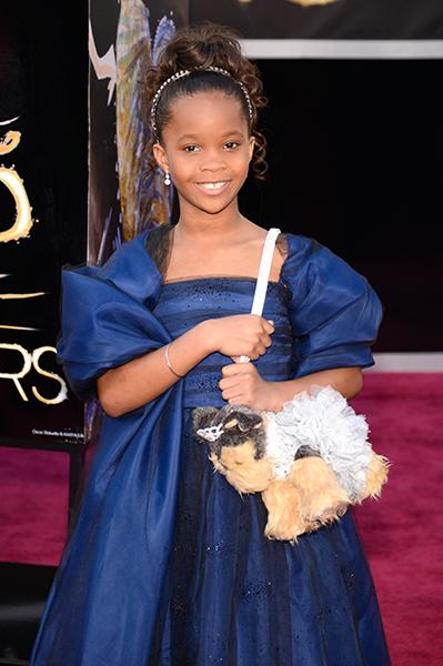 Quvenzhane Wallis - The nine-year-old best actress nominee wore Rahaminov for Forevermark drop earrings which were just the right size and style for the pint-sized actress. And she wasn't the only one who got to get bedazzled--her ubiquitous puppy purse got a sparkly tiara for the occasion!<br /><br />