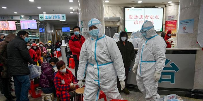 Medical staff in protective clothing at the Wuhan Red Cross Hospital on January 25, 2020.