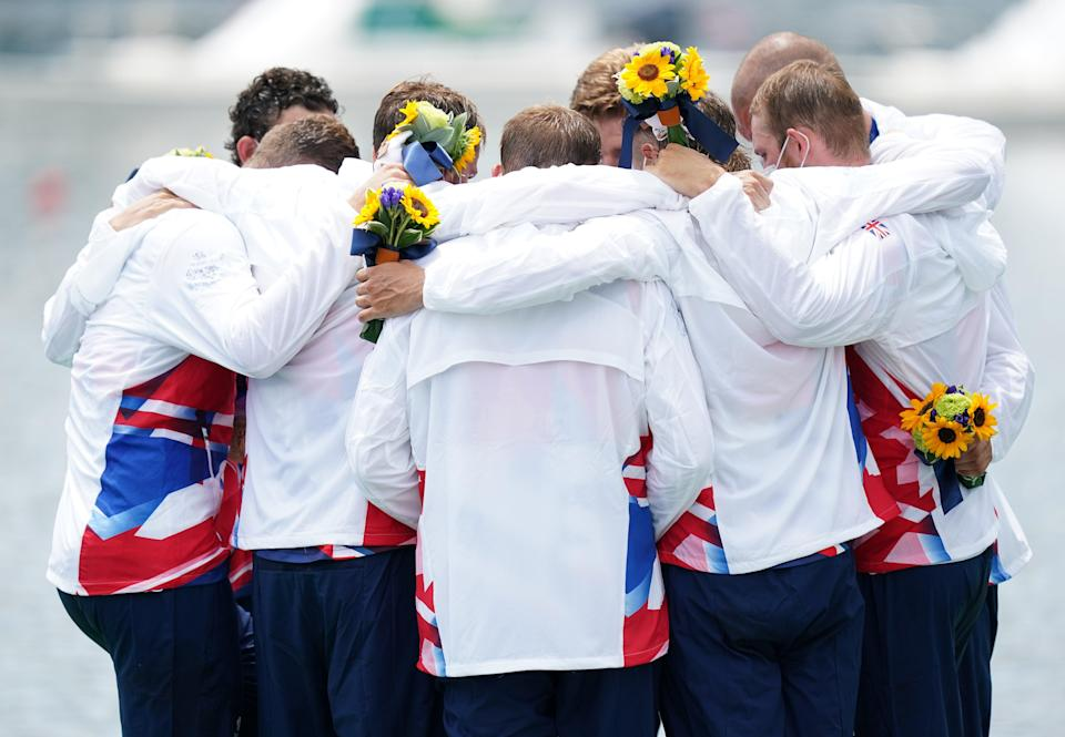 Great Britain men's eight celebrate on the podium (Mike Egerton/PA) (PA Wire)