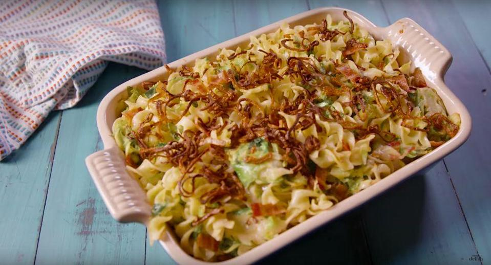 "<p>This noodle bake is made with noodles, seasoned Brussels sprouts, crispy shallots, our BFF bacon, and of course, it's all held together with cheese (what else?).</p><p>Get the recipe from <a href=""/cooking/recipe-ideas/recipes/a49904/bacon-brussels-sprouts-noodle-bake-recipe/"" data-ylk=""slk:Delish"" class=""link rapid-noclick-resp"">Delish</a>.</p>"