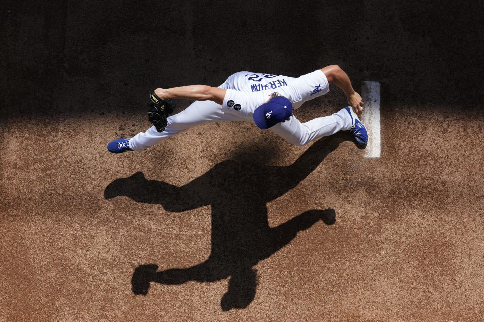 Los Angeles Dodgers starting pitcher Clayton Kershaw warms up in the bullpen prior to a baseball game against the Chicago Cubs Sunday, June 27, 2021, in Los Angeles. (AP Photo/Mark J. Terrill)