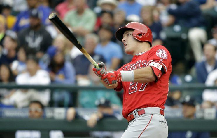 Mike Trout has never finished lower than second in AL MVP voting. (AP Photo)