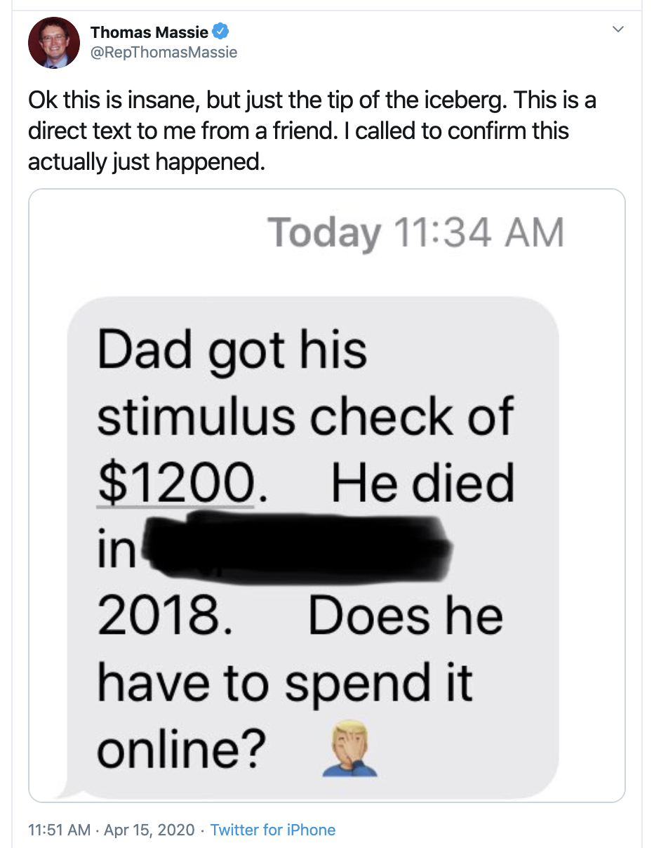 Rep. Thomas Massie (R-KY) had a friend who received a stimulus check for his deceased father. (Photo: Screenshot from Twitter)