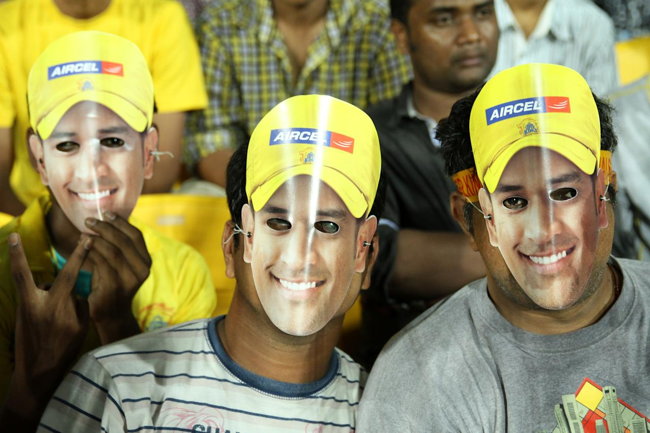 Dhoni's fans during match 5 of the Pepsi Indian Premier League between The Chennai Superkings and the Mumbai Indians held at the MA Chidambaram Stadiumin Chennai on the 6th April 2013Photo by Prashant Bhoot-IPL-SPORTZPICS Use of this image is subject to the terms and conditions as outlined by the BCCI. These terms can be found by following this link:https://ec.yimg.com/ec?url=http%3a%2f%2fwww.sportzpics.co.za%2fimage%2fI0000SoRagM2cIEc&t=1498536083&sig=YK5xxUxs8f5N9jy_Z8xm5g--~C