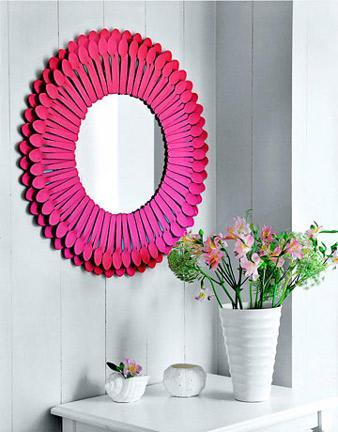 """<div class=""""caption-credit""""> Photo by: Country Living</div><div class=""""caption-title"""">Plastic Spoon Mirror</div>An old mirror and plastic spoons (yup, plastic spoons) come together to create this bold statement piece perfect for an entryway! <br> <a href=""""http://www.babble.com/crafts-activities/upcycled-10-crafts-that-you-can-make-from-trash-and-turn-into-treasure/?cmp=ELP bbl lp YahooShine Main  031313  Upcycled10CraftsThatYouCanMakeFromTrashAndTurnIntoTreasure famE   """" rel=""""nofollow noopener"""" target=""""_blank"""" data-ylk=""""slk:Get the tutorial at Country Living"""" class=""""link rapid-noclick-resp""""><i>Get the tutorial at Country Living</i></a>"""