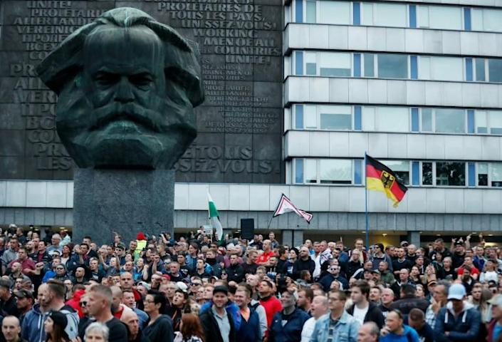 Thousands protested in front of the giant bust of Karl Marx last year after a foreigner stabbed and killed a German national (AFP Photo/Odd ANDERSEN)