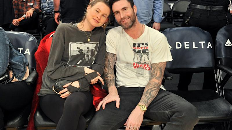 Adam Levine Holds Daughter Gio as Behati Prinsloo Shares First Pic of the Baby's Face