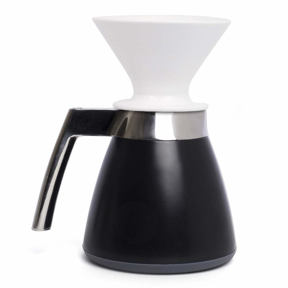 """<ul> <li><a rel=""""nofollow noopener"""" href=""""https://ratiocoffee.com/shop/ratio-coffee-makers/ratio-thermal-carafe-with-porcelain-dripper/"""" target=""""_blank"""" data-ylk=""""slk:Thermal Carafe with Dripper"""" class=""""link rapid-noclick-resp""""><i><span>Thermal Carafe with Dripper</span></i></a><i><span>, $145</span></i></li> </ul> <span>Your morning starts with the <a rel=""""nofollow noopener"""" href=""""https://www.sunset.com/food-drink/coffee-gear"""" target=""""_blank"""" data-ylk=""""slk:consumption of caffeine"""" class=""""link rapid-noclick-resp"""">consumption of caffeine</a>, but those single-use coffee pods generate a lot of waste. Lovers of clean simplicity will appreciate this thermal carafe. The carafe takes the drip coffee method and fixes its biggest drawback: heat loss. Not only will your coffee stay warm, but also the stainless steel cone filter means the only waste you'll produce is the entirely compostable coffee grounds. </span>"""