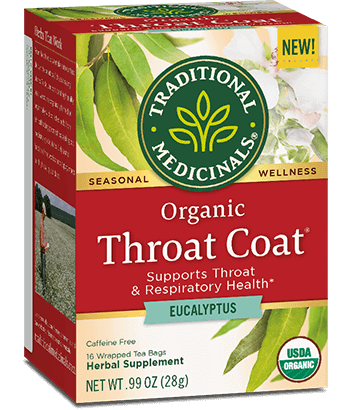 """<h3>Traditional Medicinals Throat Coat Eucalyptus tea </h3><br>""""An oldie but a goodie, and essential this time of year. The tea just works — it's very <a href=""""https://www.refinery29.com/en-us/how-to-get-rid-of-sore-throat"""" rel=""""nofollow noopener"""" target=""""_blank"""" data-ylk=""""slk:soothing for a sore throat"""" class=""""link rapid-noclick-resp"""">soothing for a sore throat</a>. I also appreciate that it has a long steeping time, since I tend to forget to remove my tea bags from my mug. This stuff doesn't get bitter after a 10- 15-minute steep. Maybe that's partially due to all the honey I add, though."""" <em>— MZ</em><br><br><strong>Traditional Medicinals</strong> Throat Coat® Eucalyptus, $, available at <a href=""""https://go.skimresources.com/?id=30283X879131&url=https%3A%2F%2Fshop.traditionalmedicinals.com%2FThroat-Coat-Eucalyptus%2Fp%2FTDM-002983%26c%3DTraditionalMedicinals%40Seasonal"""" rel=""""nofollow noopener"""" target=""""_blank"""" data-ylk=""""slk:Traditional Medicinals"""" class=""""link rapid-noclick-resp"""">Traditional Medicinals</a>"""