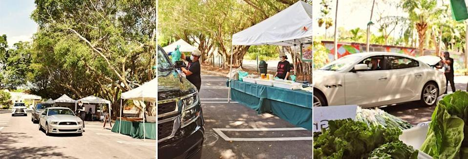 The Pinecrest Farmers Market has converted to a drive-through market at Pinecrest Gardens on Sunday mornings. Masked cyclists, too, can shop at the market.