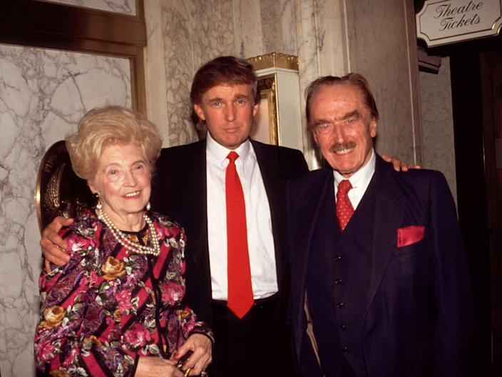 Donald Trump (centre) with his mother Mary and father Fred in New York in 1994: Rtalesnick/Mediapunch/REX