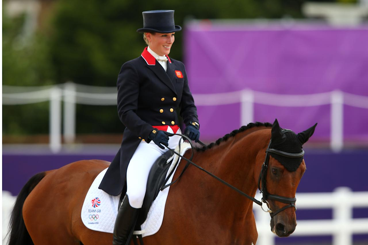 LONDON, ENGLAND - JULY 29:  Zara Phillips of Great Britain on High Kingdom competes in the Dressage Equestrian event on Day 2 of the London 2012 Olympic Games at Greenwich Park on July 29, 2012 in London, England.  (Photo by Alex Livesey/Getty Images)