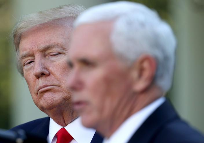 Donald Trump listens as Vice president Mike Pence answers questions during the daily briefing of the coronavirus task force in the Rose Garden of the White House on April 27, 2020 in Washington, DC.  (Getty Images)