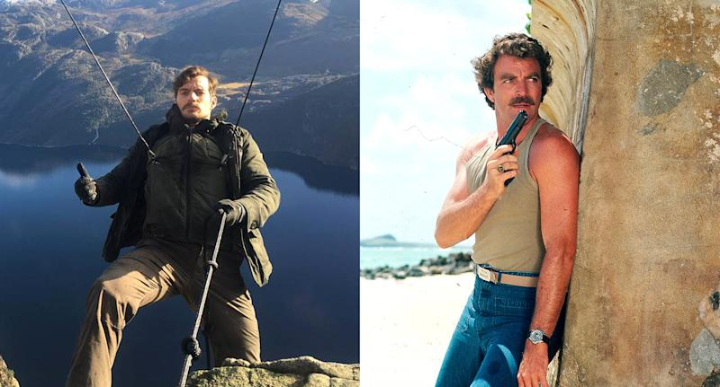 Henry Cavill and Tom Selleck shoot action scenes. (Photo: Instagram/Getty Images)