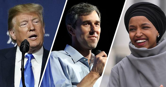 President Trump, Beto O'Rourke and Rep. Ilhan Omar. (Photos: Eilon Paz/Bloomberg via Getty Images, Mark Wilson/Getty Images Images, Chip Somodevilla/Getty Images)