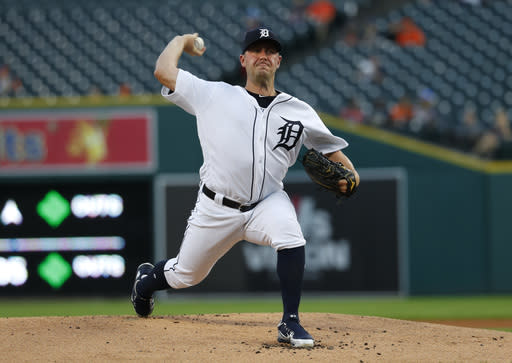 Detroit Tigers pitcher Jordan Zimmermann throws against the Minnesota Twins in the first inning of a baseball game in Detroit, Monday, Sept. 17, 2018. (AP Photo/Paul Sancya)