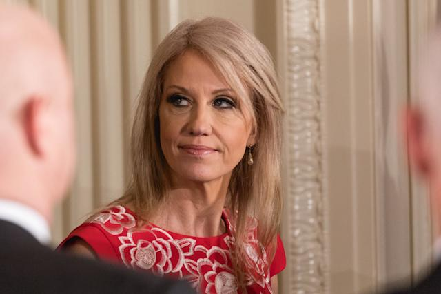 White House counselor Kellyanne Conway, seen on Feb. 23, violated the Hatch Act twice in late 2017, according to a report released Tuesday from the U.S. Office of Special Counsel.