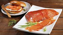 """<p>Sure, you can buy smoked salmon at the store, but if you want to make it extra special, try making your own gravlax. It's not difficult, just be sure to plan two days ahead to give it time to cure. Once it's done, mix your gravlax with scrambled eggs, serve it with cucumbers and cream cheese for a snack, or use it as an incredible matzo topping.</p> <p><a href=""""https://www.thedailymeal.com/gravlax-0-recipe?referrer=yahoo&category=beauty_food&include_utm=1&utm_medium=referral&utm_source=yahoo&utm_campaign=feed"""" rel=""""nofollow noopener"""" target=""""_blank"""" data-ylk=""""slk:For the Gravlax recipe, click here."""" class=""""link rapid-noclick-resp"""">For the Gravlax recipe, click here.</a></p>"""