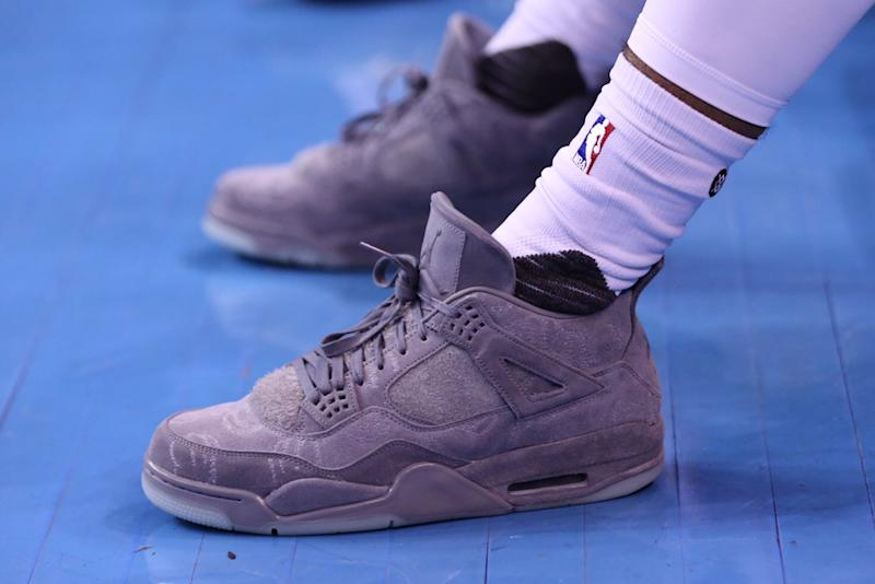 6d55959f03e87a NBA Player Wears the Kaws x Air Jordan on the Court
