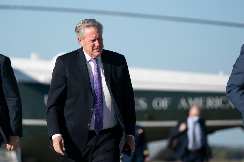 "White House Chief of Staff Mark Meadows boards Air Force One on October 14, 2020 at Joint Base Andrews in Maryland. - Trumps travels to Des Moines, Iowa, for a Make America Great"" rally. (Photo by Alex Edelman / AFP) (Photo by ALEX EDELMAN/AFP via Getty Images)"