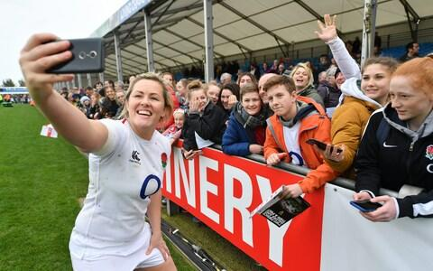 Marlie Packer takes a selfie with fans - Credit: GETTY IMAGES