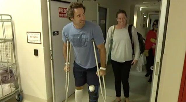 Alex Travaglini, who was attacked by a shark last week, has left hospital. Source: 7 News
