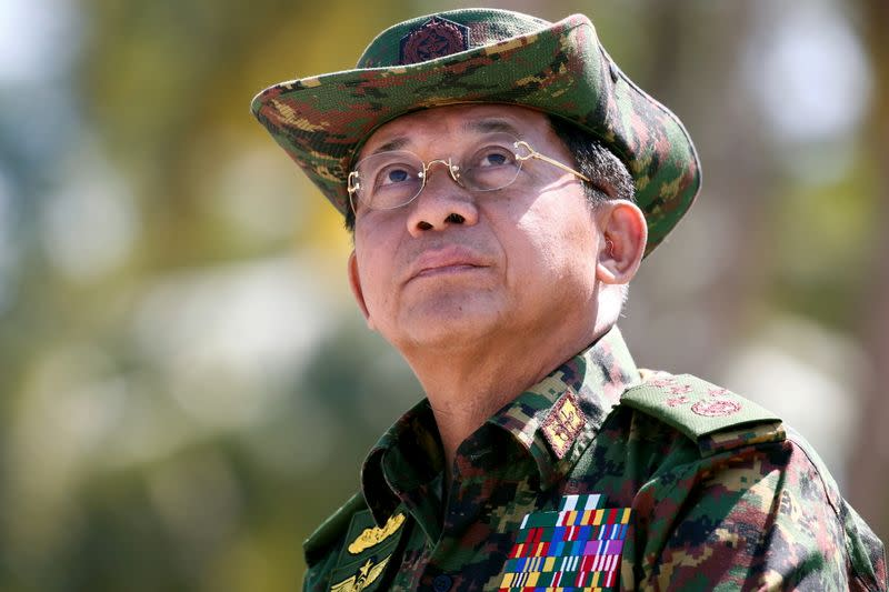 FILE PHOTO: Myanmar military commander-in-chief, Senior General Min Aung Hlaing, attends a military exercise at Ayeyarwaddy delta region in Myanmar