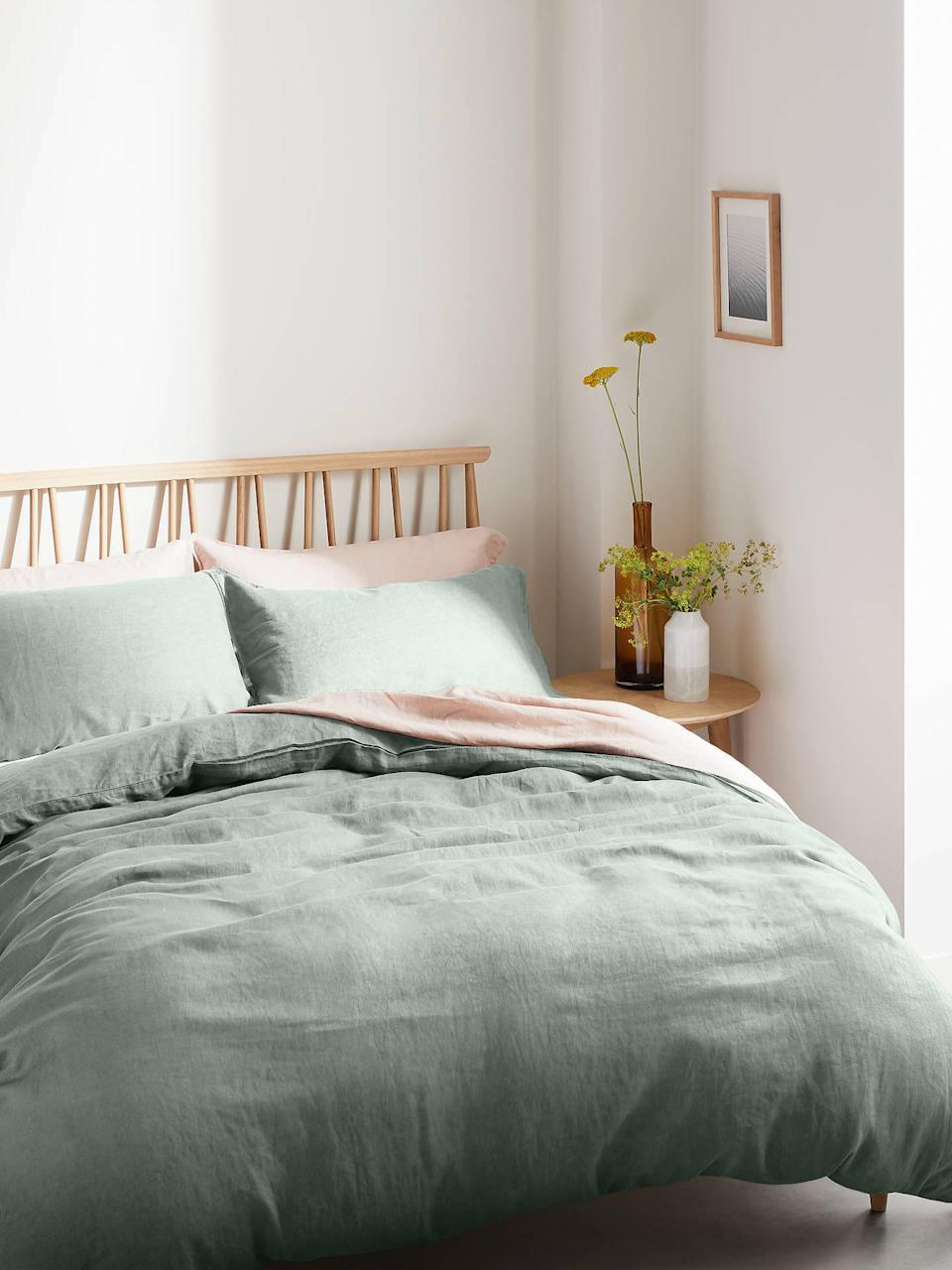 """In my dream life, my bedroom would be a sanctuary of relaxation and comfort instead of a messy place where I hide out and watch Netflix from bed. These moss green linen sheets feel like a step in the right direction, especially with the spring weather around the corner.<br><br><strong>John Lewis</strong> 100% Linen Bedding, Dusky Green, $, available at <a href=""""https://www.johnlewis.com/john-lewis-partners-100-linen-bedding/dusky-green/p5065964?size=double-duvet-cover"""" rel=""""nofollow noopener"""" target=""""_blank"""" data-ylk=""""slk:John Lewis"""" class=""""link rapid-noclick-resp"""">John Lewis</a>"""