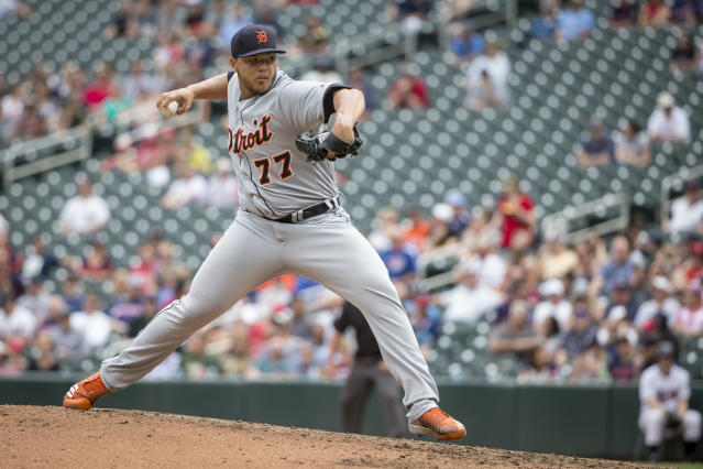 FILE - In this May 23, 2018, file photo, Detroit Tigers relief pitcher Joe Jimenez throws against the Minnesota Twins in the eighth inning of a baseball game, in Minneapolis. The focus now is on the future. The Tigers do have a few young players who have already contributed in the majors, such as Jimenez. (AP Photo/Bruce Kluckhohn, File)