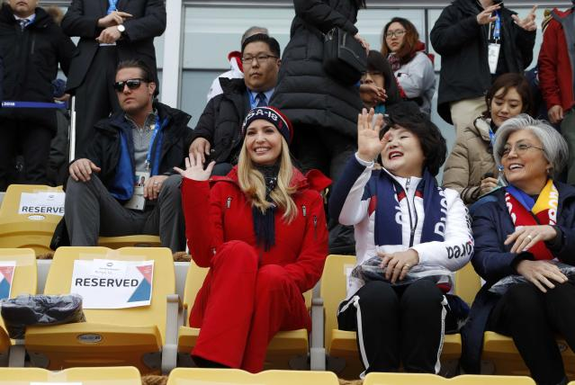 Snowboarding - Pyeongchang 2018 Winter Olympics - Men's Big Air Finals - Alpensia Ski Jumping Centre - Pyeongchang, South Korea - February 24, 2018 - U.S. President Donald Trump's daughter and senior White House adviser, Ivanka Trump waves from the stands. REUTERS/Eric Gaillard