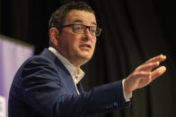 Premier of Victoria Daniel Andrews speaks during a news conference Wednesday, Aug. 5, 2020. Victoria state, Australia's coronavirus hot spot, announced on Monday that businesses will be closed and scaled down in a bid to curb the spread of the virus. (AP Photo/Asanka Brendon Ratnayake)