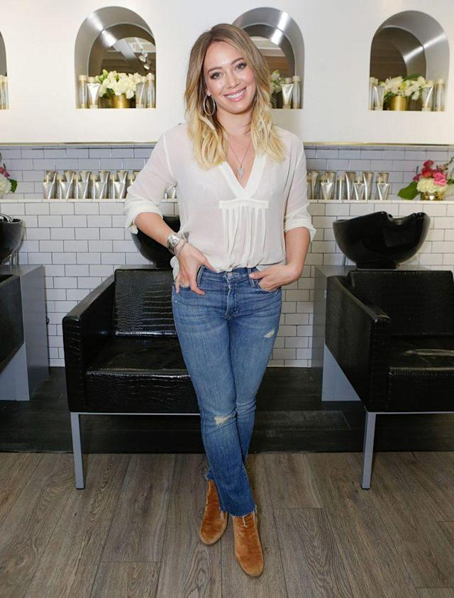 Hilary Duff showing us how denim is done. (Photo by Tiffany Rose/WireImage)
