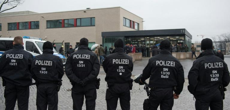 There was a heavy security presence outside the Higher Regional Court in Dresden, eastern Germany, on March 7, 2017