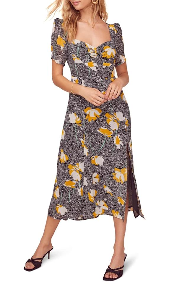 "<p>The cut of this <a href=""https://www.popsugar.com/buy/ASTR-Label-Zenn-Floral-Midi-Dress-546855?p_name=ASTR%20the%20Label%20Zenn%20Floral%20Midi%20Dress&retailer=shop.nordstrom.com&pid=546855&price=128&evar1=fab%3Aus&evar9=47183111&evar98=https%3A%2F%2Fwww.popsugar.com%2Ffashion%2Fphoto-gallery%2F47183111%2Fimage%2F47183456%2FASTR-Label-Zenn-Floral-Midi-Dress&list1=shopping%2Cnordstrom%2Ceditors%20pick%2Cspring%20fashion&prop13=api&pdata=1"" rel=""nofollow"" data-shoppable-link=""1"" target=""_blank"" class=""ga-track"" data-ga-category=""Related"" data-ga-label=""https://shop.nordstrom.com/s/astr-the-label-zenn-floral-midi-dress/5463789/full?origin=category-personalizedsort&amp;breadcrumb=Home%2FWomen%2FNew%20Arrivals&amp;color=black%2F%20mustard%20floral"" data-ga-action=""In-Line Links"">ASTR the Label Zenn Floral Midi Dress</a> ($128) is so flattering.</p>"
