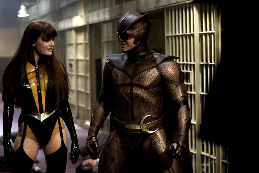 """<a href=""""http://movies.yahoo.com/movie/contributor/1808422842"""">Malin Akerman</a> as the Silk Spectre and <a href=""""http://movies.yahoo.com/movie/contributor/1804501534"""">Patrick Wilson</a> as Nite Owl in Warner Bros. Pictures' <a href=""""http://movies.yahoo.com/movie/1808406490/info"""">Watchmen</a> - 2009"""