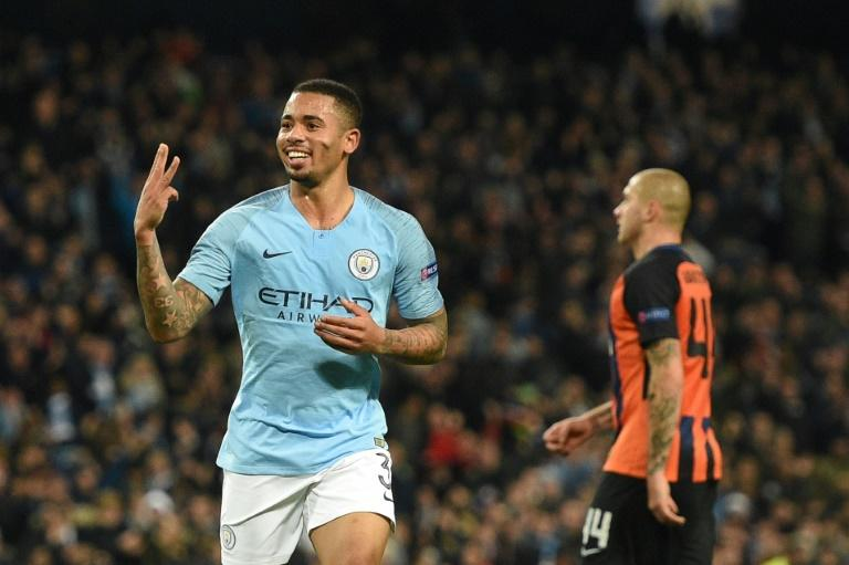 Gabriel Jesus celebrates after completing his hat trick in Manchester City's 6-0 thumping of Shakhtar Donetsk