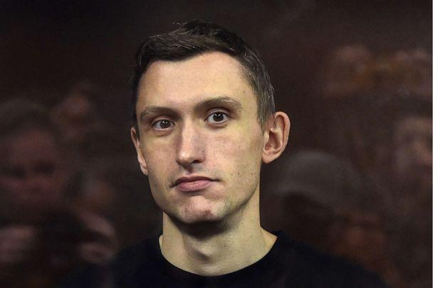 PHOTO: Konstantin Kotov is charged with repeated violations of regulations for organizing rallies during the verdict announcement at Moscow's Tverskoy District Court, Sept. 5, 2019, in Moscow. (Andrei Vasilyev/TASS via ZUMA Press)