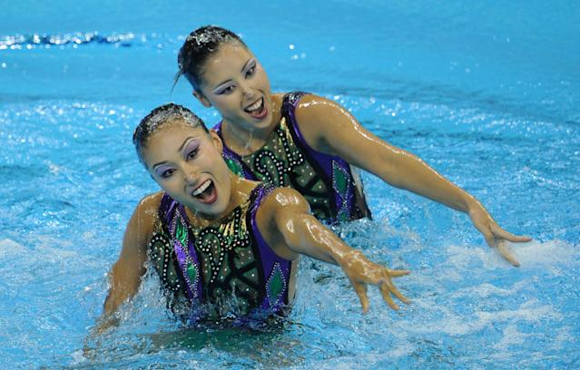 Japan's Yukiko Inui and Chisa Kobayashi compete in the final of the duets free synchronised swimming competition in the FINA World Championships at the indoor stadium of the Oriental Sports Centre in Shanghai on July 22, 2011. AFP PHOTO / PHILIPPE LOPEZ (Photo credit should read PHILIPPE LOPEZ/AFP/Getty Images)