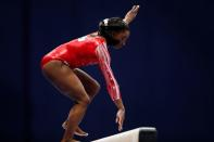 Simone Biles at the U.S. Women's Olympic Gymnastics trials in St Louis