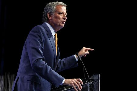 FILE PHOTO: New York Mayor Bill De Blasio speaks at the Netroots Nation annual conference for political progressives in New Orleans