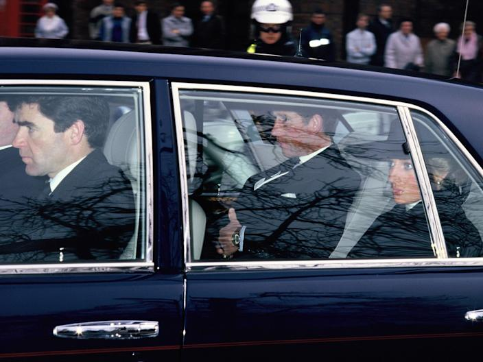 Princess Diana on way to Major Hugh Lindsay's funeral