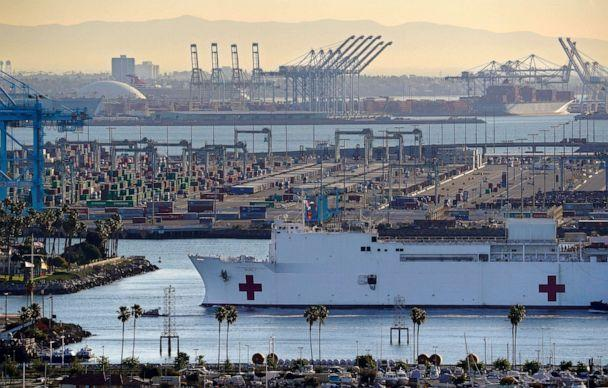 PHOTO: In this March 27, 2020, file photo, The USNS Mercy enters the Port of Los Angeles in Los Angeles. (Mark J. Terrill/AP, File)
