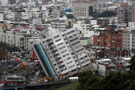 A damaged damaged building is seen after an earthquake hit Hualien