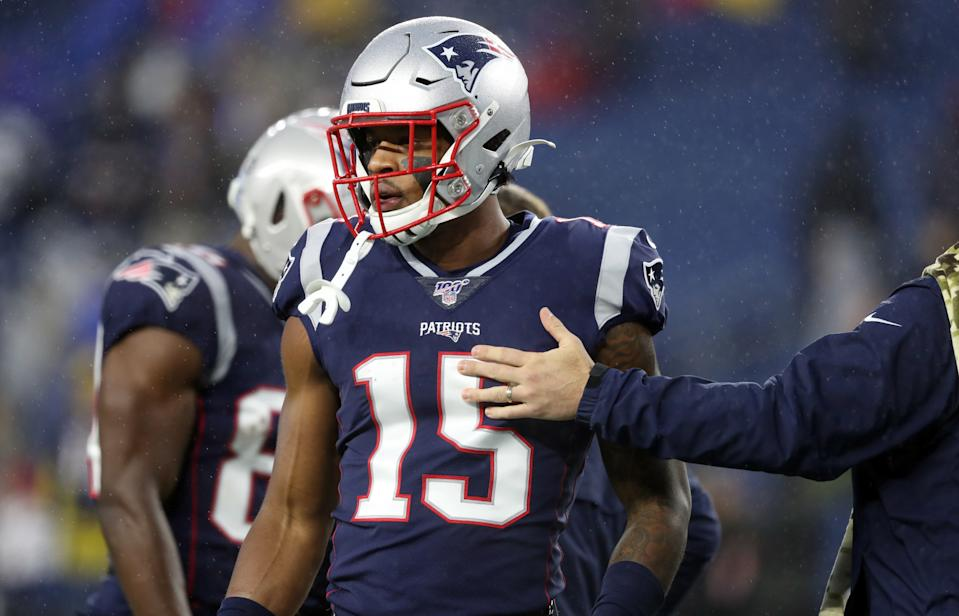 New England Patriots wide receiver N'Keal Harry got his first career touchdown against the Cowboys. (Photo by Jim Davis/The Boston Globe via Getty Images)