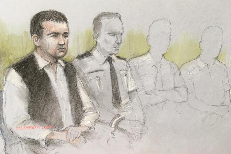 Court sketch of Henry Long, 18, sitting next to a dock officer at the Old Bailey (PA)