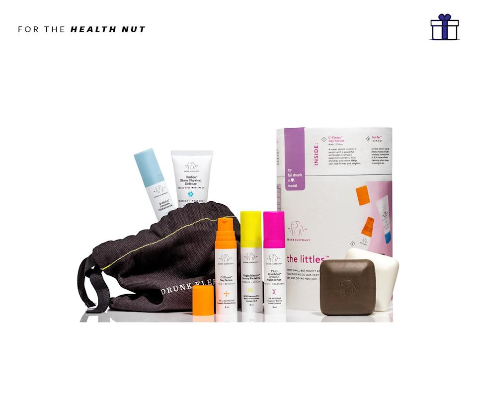 """<p>The essential travel pack for your favorite health nut to keep their skin in check, looking fresh and nourished. Even better, Drunk Elephant only works with non-toxic ingredients to create the most pure and natural skin care regimen. Drunk Elephant The Littles, $90, <a href=""""http://www.drunkelephant.com/collections/shop/products/the-littles"""" rel=""""nofollow noopener"""" target=""""_blank"""" data-ylk=""""slk:drunkelephant.com"""" class=""""link rapid-noclick-resp"""">drunkelephant.com</a> </p>"""
