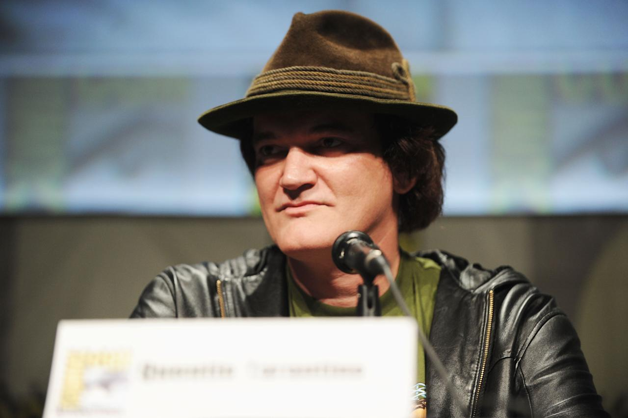 "SAN DIEGO, CA - JULY 14:  Director Quentin Tarantino speaks at the ""Django Unchained"" panel during Comic-Con International 2012 at San Diego Convention Center on July 14, 2012 in San Diego, California.  (Photo by Albert L. Ortega/Getty Images)"