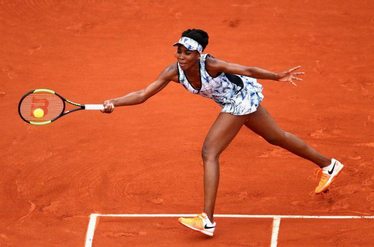 Venus Williams returns a shot from Elise Mertens during the third round of the French Open (Getty Images).