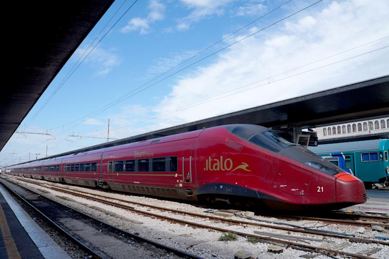 Venice, Italy- September 13, 2014: Nuovo Trasporto Viaggiatori's fast train, Italo in Venice Santa Lucia Station on September 14,2014. Italo is the rapid train which connects main cities in Italy.
