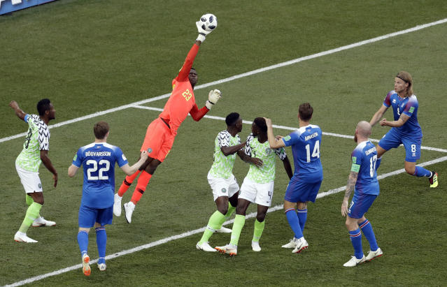 Nigeria goalkeeper Francis Uzoho makes a save during the group D match between Nigeria and Iceland at the 2018 soccer World Cup in the Volgograd Arena in Volgograd, Russia, Friday, June 22, 2018. (AP Photo/Themba Hadebe)
